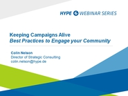 Keeping Campaigns Alive - Best Practices to Engage Your Community