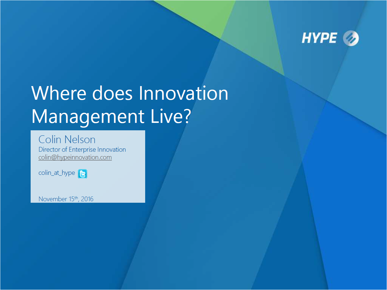 Where Does Innovation Management Live?