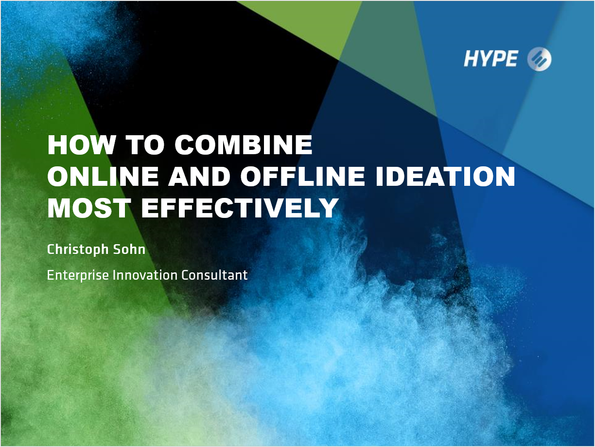 How to Combine Online and Offline Ideation Most Effectively