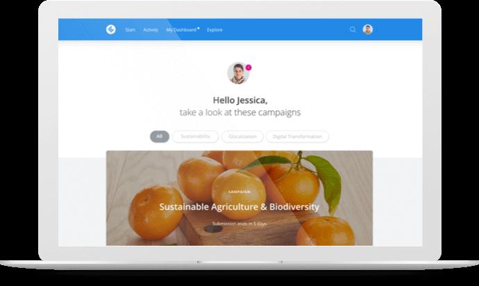 capture d'écran de la platform HYPE pour l'innovation collaborative