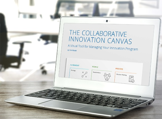 computer displaying the collaborative innovation canvas report
